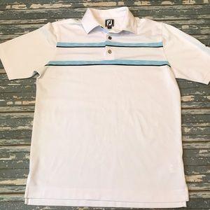 🔥 FootJoy men's M white stripe golf polo shirt